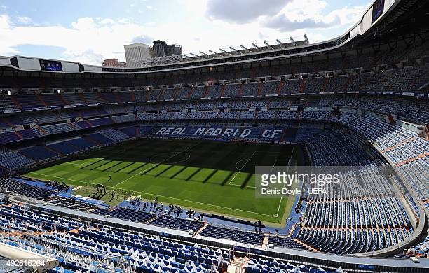 A general view inside the ground prior to the UEFA Champions League Semi Final first leg match between Real Madrid and FC Bayern Muenchen at Estadio...