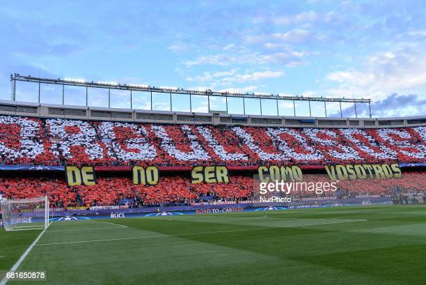 A general view inside the ground prior to the UEFA Champions League Semi Final second leg match between Club Atletico de Madrid and Real Madrid CF at...