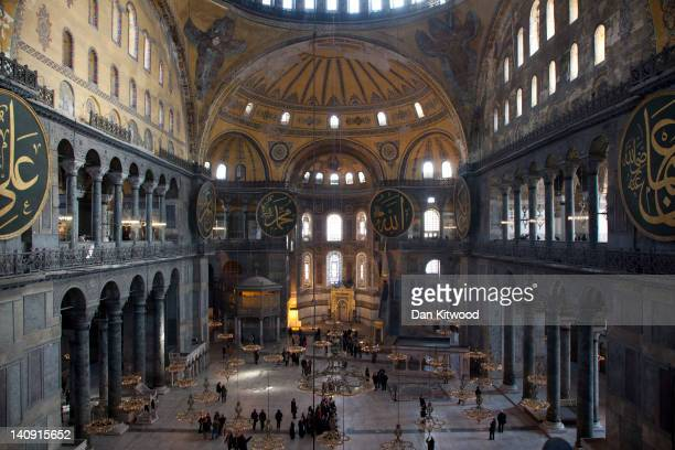 A general view inside the Haghia Sofia on February 23 2012 in Istanbul Turkey Though not the capital Istanbul is the cultural economic and financial...