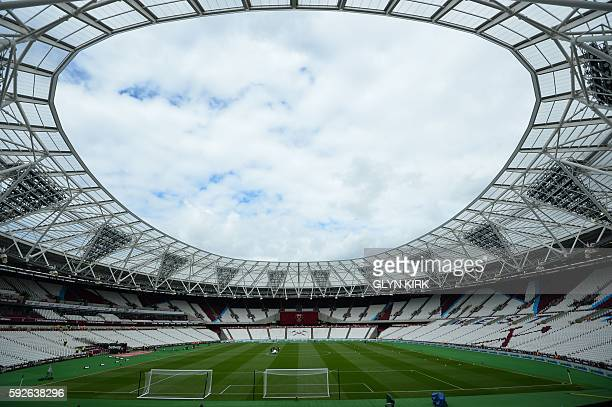 A general view inside the London Stadium ahead of the English Premier League football match between West Ham United and Bournemouth in east London on...