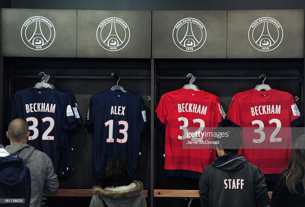 A general view inside the official Paris Saint-Germain store on the Champs-Elysees where international football player David Beckham is welcomed on February 8, 2013 in Paris, France.