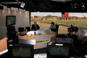 General View inside the on course mobile BBC studio as global coverage is transmitted during the third round of the 2011 Ricoh Women's British Open...