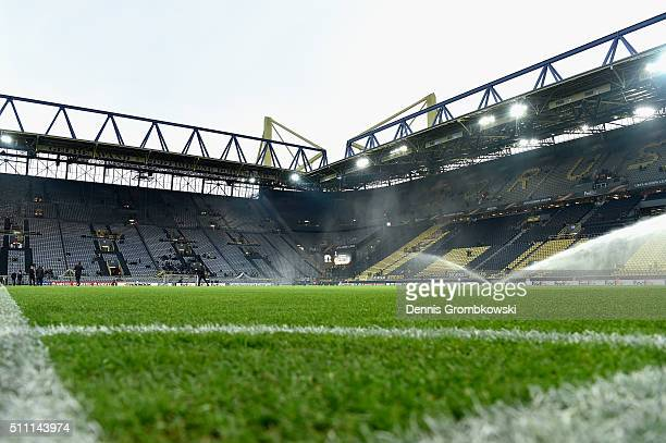 A general view inside the satdium prior to the UEFA Europa League round of 32 first leg match between Borussia Dortmund and FC Porto at Signal Iduna...