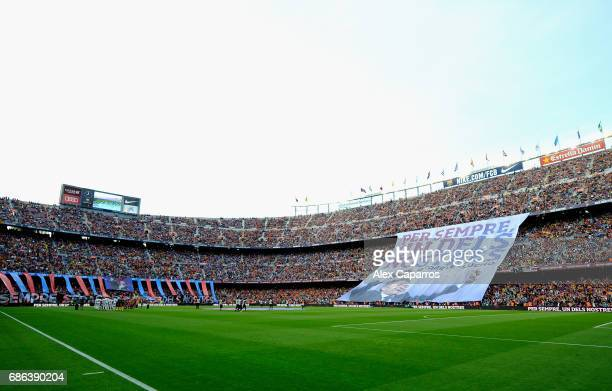 A general view inside the stadium as a banner is held up for Luis Enrique Manager of Barcelona prior to the La Liga match between Barcelona and Eibar...