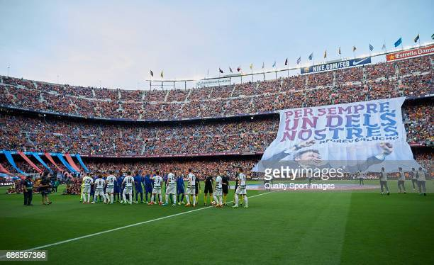 A general view inside the stadium as a banner is held up for Luis Enrique Manager of FC Barcelona prior the La Liga match between FC Barcelona and SD...