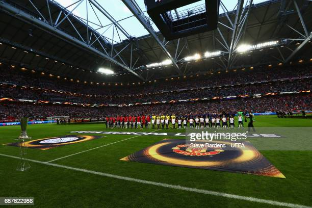 General view inside the stadium as Ajax and Manchester United line up prior to the UEFA Europa League Final between Ajax and Manchester United at...