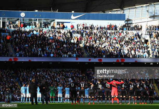 General view inside the stadium as players fans and officals take part in a minute of silence for remebrance day prior to during the Premier League...