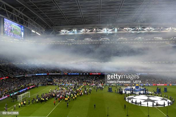 General view inside the stadium as Real Madrid celebrate after the UEFA Champions League Final between Juventus and Real Madrid at National Stadium...