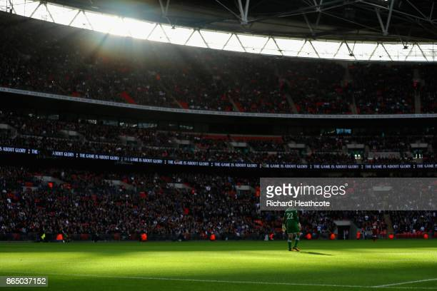 General view inside the stadium as Simon Mignolet of Liverpool looks on during the Premier League match between Tottenham Hotspur and Liverpool at...