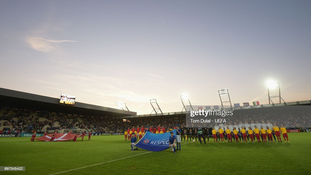 General view inside the stadium as the Denmark and Italy teams line up prior to the UEFA European Under-21 Championship Group C match between Denmark and Italy at Krakow Stadium on June 18, 2017 in Krakow, Poland.