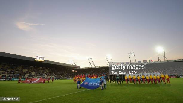 General view inside the stadium as the Denmark and Italy teams line up prior to the UEFA European Under21 Championship Group C match between Denmark...