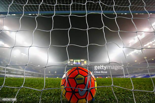 A general view inside the stadium as the practice ball sits on the goal prior to the Barclays Premier League match between Tottenham Hotspur and...