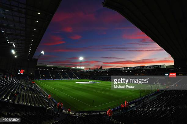 A general view inside the stadium as the sun sets prior the Barclays Premier League match between West Bromwich Albion and Everton at The Hawthorns...