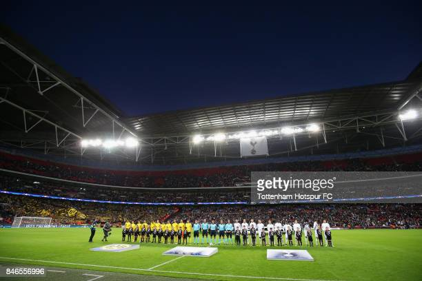 General view inside the stadium as the teams line up prior to the UEFA Champions League group H match between Tottenham Hotspur and Borussia Dortmund...