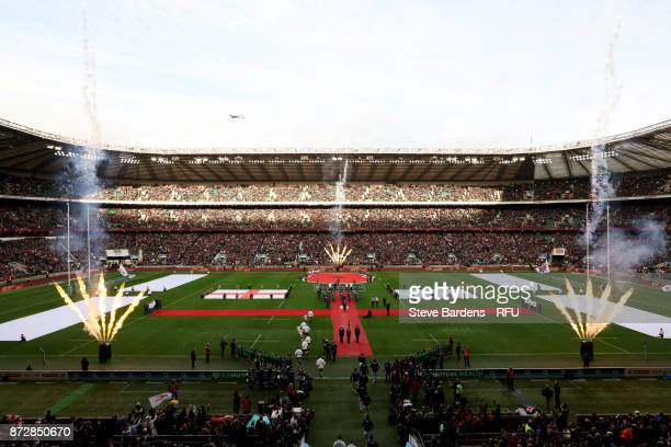 General view inside the stadium as the teams walk out prior to the Old Mutual Wealth Series match between England and Argentina at Twickenham Stadium...