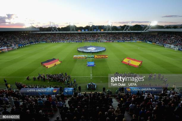 A general view inside the stadium as the two sides line up for the national anthems prior to the UEFA European Under21 Championship Final between...