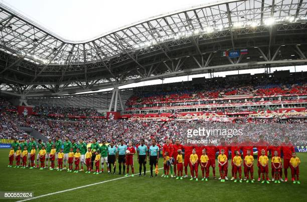 General view inside the stadium as the two teams line up prior to the FIFA Confederations Cup Russia 2017 Group A match between Mexico and Russia at...
