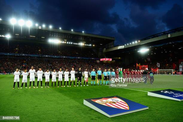 General view inside the stadium as the two teams line up prior to the UEFA Champions League group E match between Liverpool FC and Sevilla FC at...