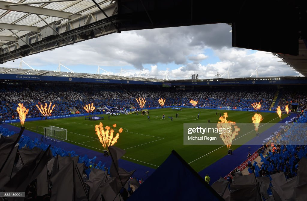 General view inside the stadium as the two teams walk out prior to the Premier League match between Leicester City and Brighton and Hove Albion at The King Power Stadium on August 19, 2017 in Leicester, England.