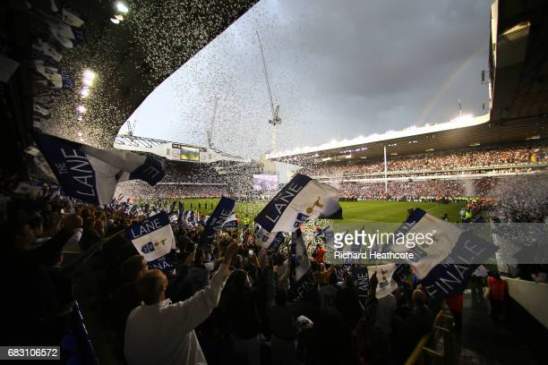 General view inside the stadium as Tottenham Hotspur fans celebrate after Preimer League match between Tottenham Hotspur and Manchester United at...