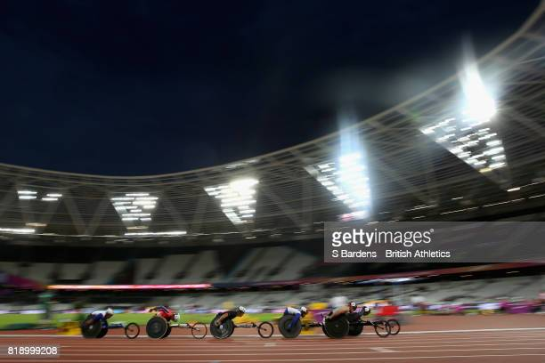 A general view inside the stadium during Men's 800m T53 Round 1 Heat 2 during Day Six of the IPC World ParaAthletics Championships 2017 London at...