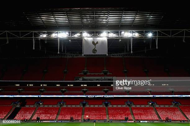 General view inside the stadium during the Bayer 04 Leverkusen Training Session ahead of their UEFA Champions League match against Tottenham Hotspur...