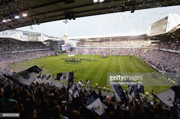 General view inside the stadium during the closing ceremony after the Premier League match between Tottenham Hotspur and Manchester United at White...