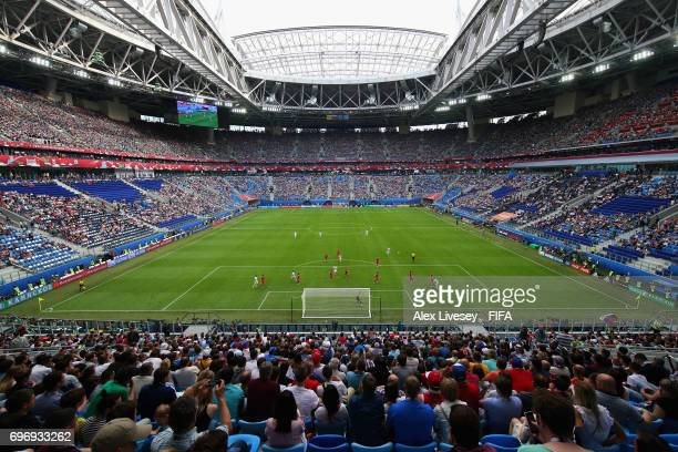 General view inside the stadium during the FIFA Confederations Cup Russia 2017 Group A match between Russia and New Zealand at Saint Petersburg...