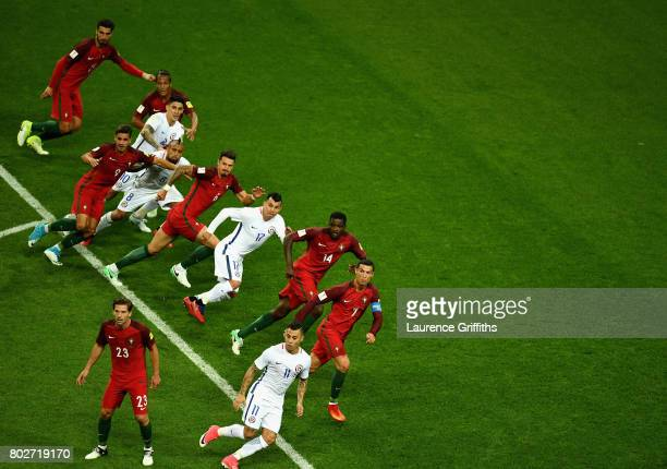 General view inside the stadium during the FIFA Confederations Cup Russia 2017 SemiFinal between Portugal and Chile at Kazan Arena on June 28 2017 in...