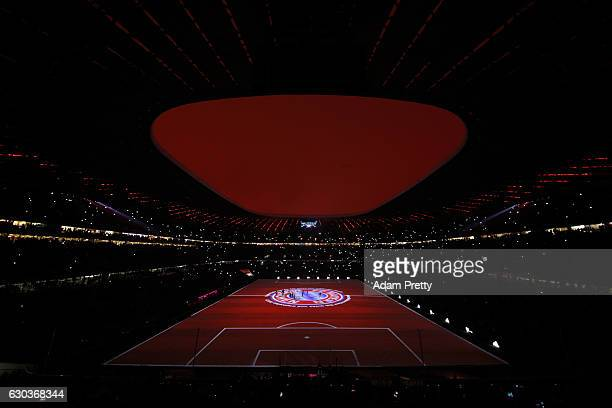 General view inside the stadium during the light show after the final whistle during the Bundesliga match between Bayern Muenchen and RB Leipzig at...