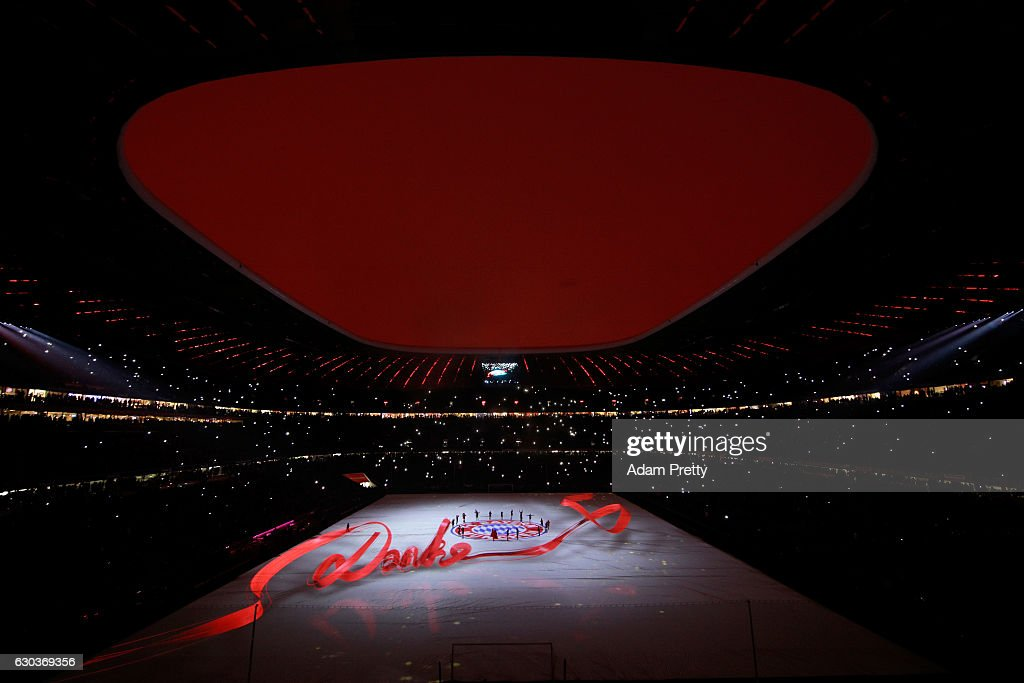 General view inside the stadium during the light show after the final whistle during the Bundesliga match between Bayern Muenchen and RB Leipzig at Allianz Arena on December 21, 2016 in Munich, Germany.