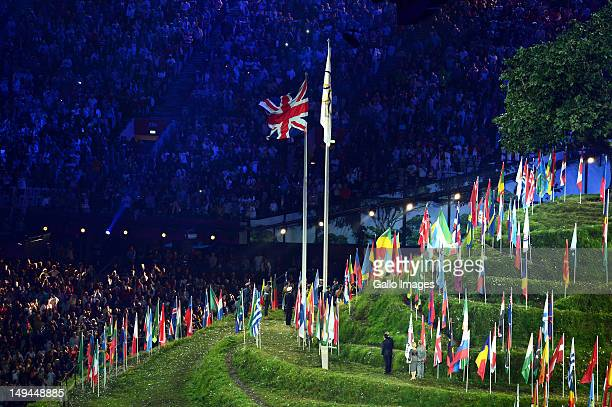 A general view inside the stadium during the Opening Ceremony of the London 2012 Olympic Games at the Olympic Stadium on July 27 2012 in London...