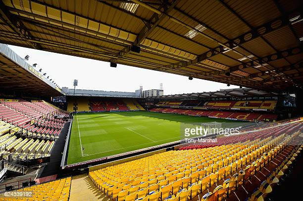 General view inside the stadium during the Premier League match between Watford and Leicester City at Vicarage Road on November 19 2016 in Watford...
