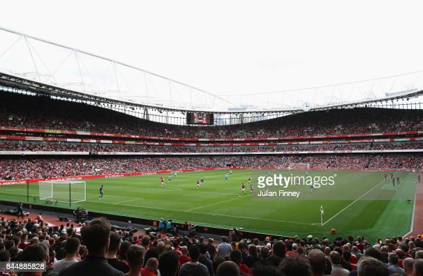 General view inside the stadium during the Premier League match between Arsenal and AFC Bournemouth at Emirates Stadium on September 9 2017 in London...