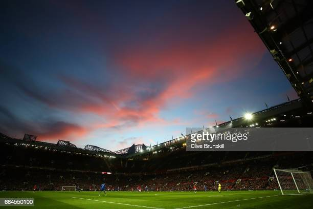 General view inside the stadium during the Premier League match between Manchester United and Everton at Old Trafford on April 4 2017 in Manchester...