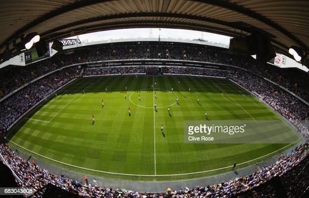 General view inside the stadium during the Premier League match between Tottenham Hotspur and Manchester United at White Hart Lane on May 14 2017 in...