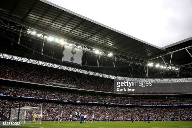 General view inside the stadium during the Premier League match between Tottenham Hotspur and Chelsea at Wembley Stadium on August 20 2017 in London...