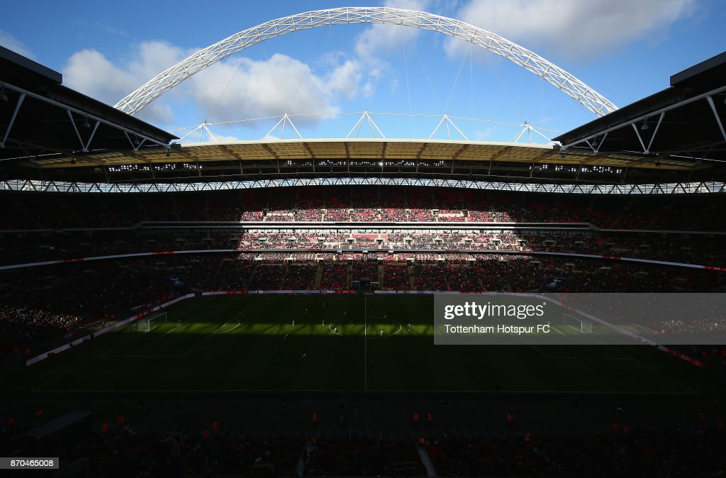 General view inside the stadium during the Premier League match between Tottenham Hotspur and Crystal Palace at Wembley Stadium on November 5, 2017 in London, England.