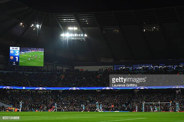 General view inside the stadium during the UEFA Champions League Group C match between Manchester City FC and FC Barcelona at Etihad Stadium on...