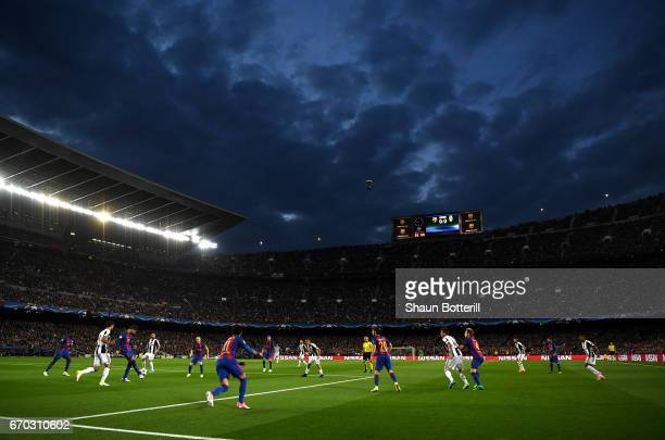 General view inside the stadium during the UEFA Champions League Quarter Final second leg match between FC Barcelona and Juventus at Camp Nou on...