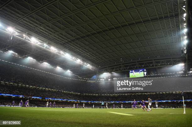 General view inside the stadium during the UEFA Champions League Final between Juventus and Real Madrid at National Stadium of Wales on June 3 2017...
