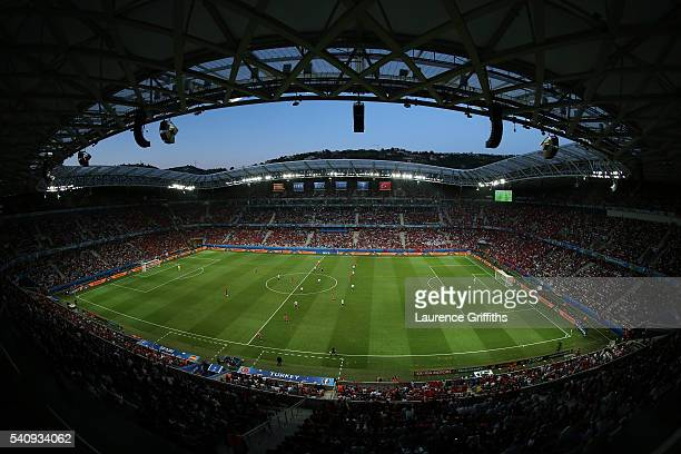 A general view inside the stadium during the UEFA EURO 2016 Group D match between Spain and Turkey at Allianz Riviera Stadium on June 17 2016 in Nice...