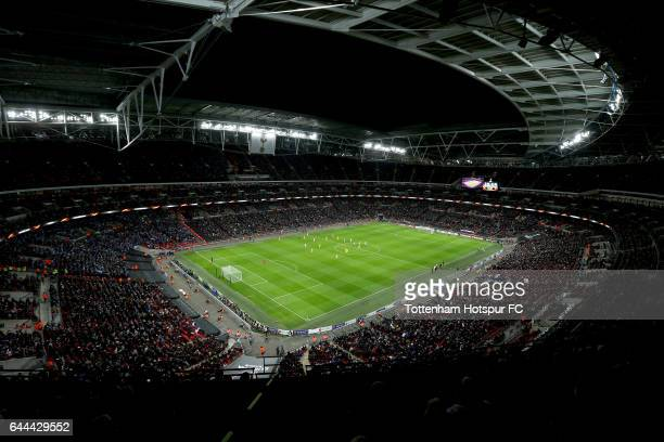 General view inside the stadium during the UEFA Europa League Round of 32 second leg match between Tottenham Hotspur and KAA Gent at Wembley Stadium...