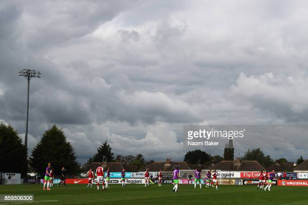 General View inside the stadium during the Women's Super League 1 match between Arsenal and Bristol City at Meadow Park Boreham Wood on October 8...
