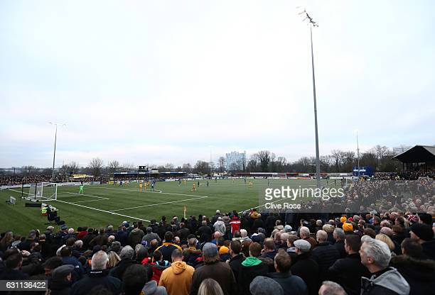 A general view inside the stadium during to The Emirates FA Cup Third Round match between Sutton United and AFC Wimbledon at the Borough Sports...