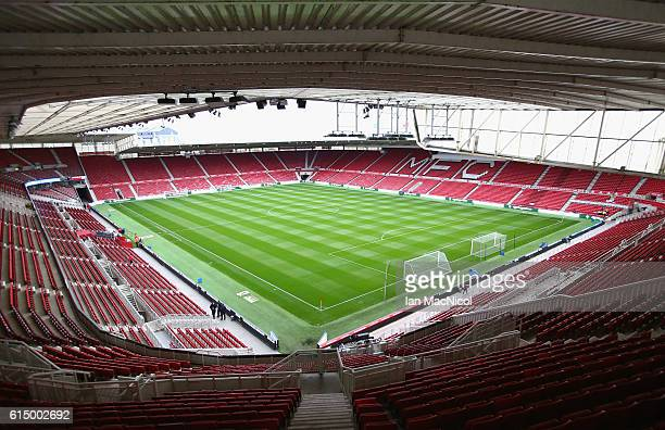 A general view inside the stadium prior the Premier League match between Middlesbrough and Watford at Riverside Stadium on October 16 2016 in...