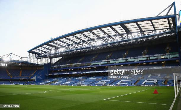 A general view inside the stadium prior to during The Emirates FA Cup QuarterFinal match between Chelsea and Manchester United at Stamford Bridge on...