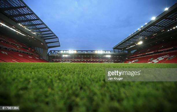General view inside the stadium prior to kick off during the EFL Cup fourth round match between Liverpool and Tottenham Hotspur at Anfield on October...