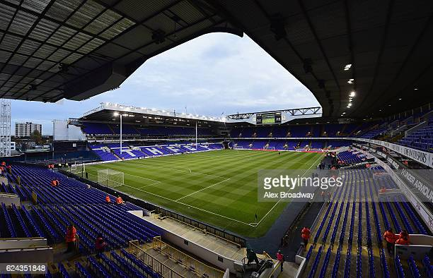 General view inside the stadium prior to kick off during the Premier League match between Tottenham Hotspur and West Ham United at White Hart Lane on...