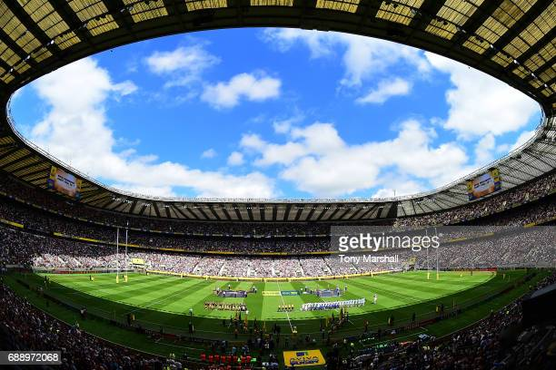 General view inside the stadium prior to the Aviva Premiership Final between Wasps and Exeter Chiefs at Twickenham Stadium on May 27 2017 in London...